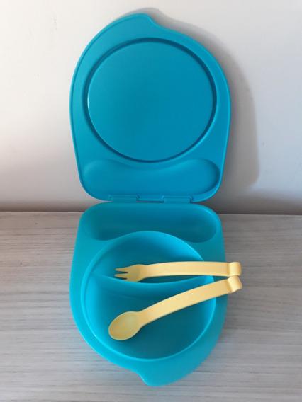 Tupper Prato Azul Com Talher Importado Tupperware