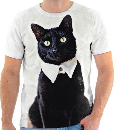 Camisa Camiseta Personalizada Animal Gato Cat Preto Felino 1