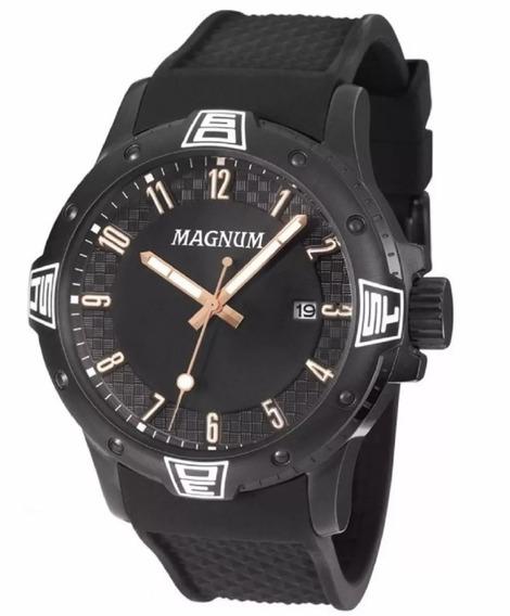 Relogio Masculino Magnum Borracha Black Analogico Ma34414d