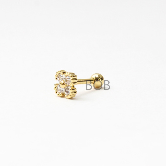 Piercing Tragus Helix Trevo Banho A Ouro 18k Cartilagem 7mm