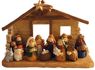 Escena De Navidad En Miniatura Con Pesebre Para Ninos, Juego