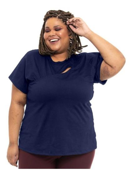 Camiseta Plus Size Wonder Size Malha Recorte Busto Marinho