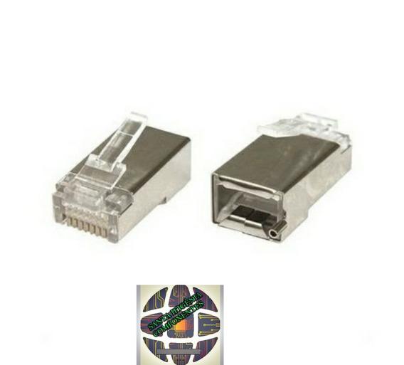 Kit C/ 500 Conector Rj45 Cat5e Blindado Rj 45 Lan Plug Rede