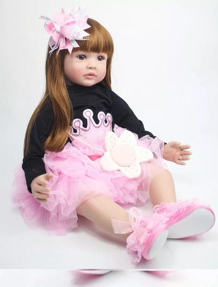 Bebê Reborn 60cm Ruiva Linda Cabelo Longo Menina Promoção