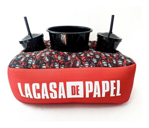 Almofada Porta Pipoca Balde +2 Copos La Casa De Papel