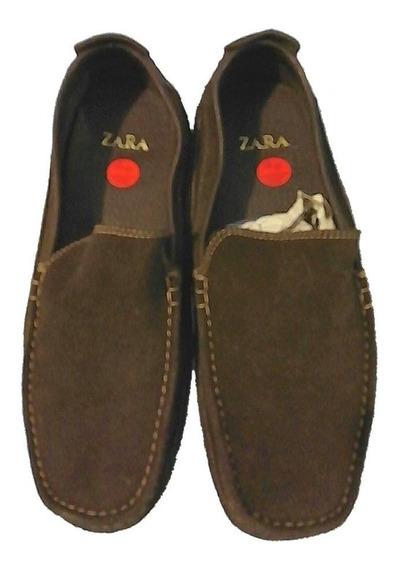 Zapato Mocasin Hombre Gamuza. Zara Men. T 43/44. Poco Uso