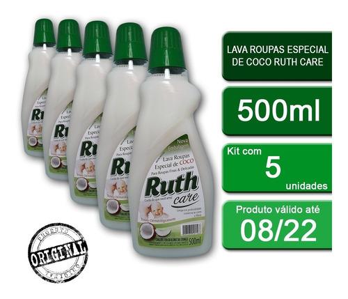 Kit C/5 Lava Roupas Líquido Ruth Care Coco 500ml