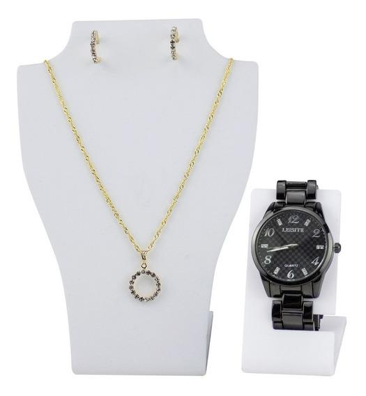 Kit Relógio Feminino Aço Leisite + Colar + Brincos Garantia