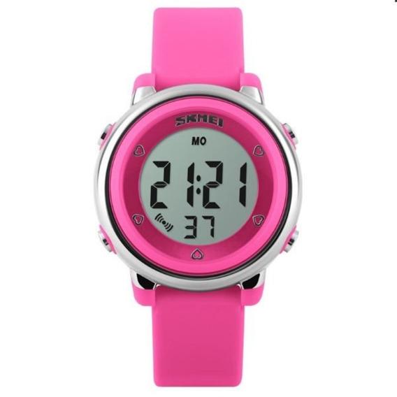Relógio Infantil Skmei 1100 Digital Rosa Com Nf