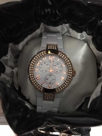 Relógio Feminino Guess Branco E Dourado
