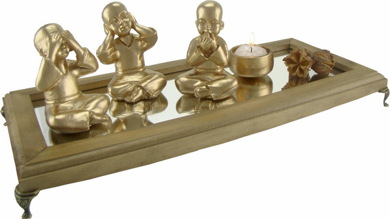 Buda Cego Surdo Mudo Resina Ouro Ou Prata C/aparador Espelho