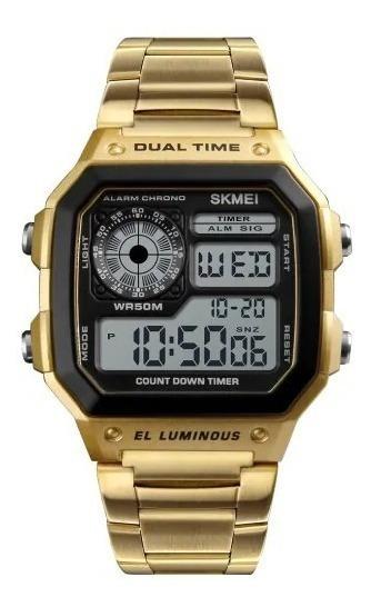 Relógio Masculino Digital Dourado Original Skmei Barato