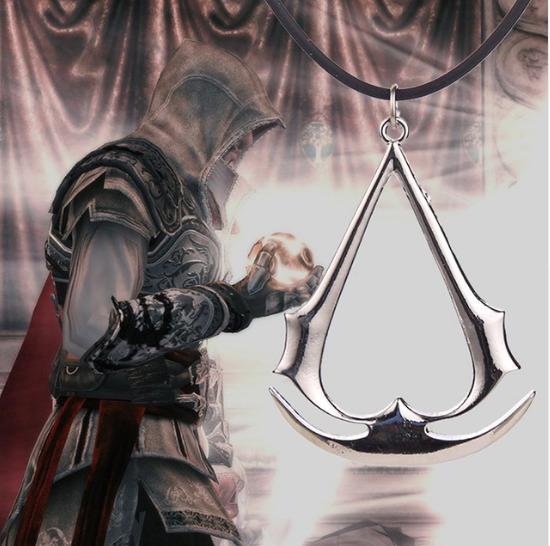 Colar Corrente Assassins Creed Guilda Pingente Prateado