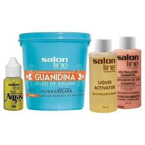 5 Salon Line + Óleo De Argan Guanidina Alisa E Relaxa