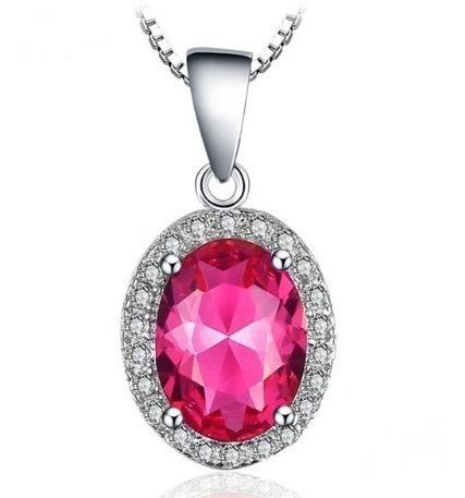 Colar Cordão Feminino Prata 925 Pedra Topázio Rosa Elegante