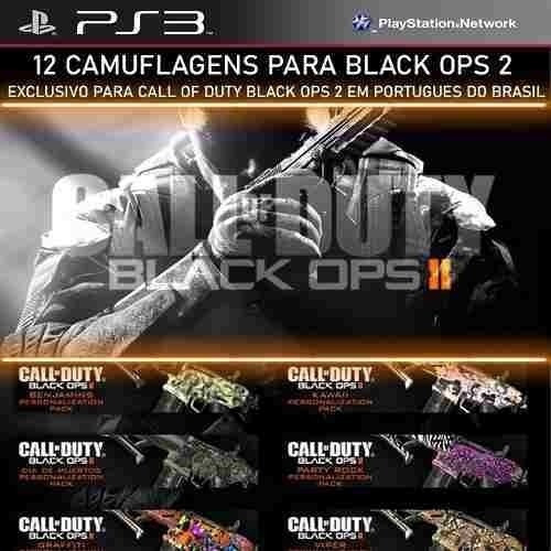 Pack 12 Camos Call Of Duty Black Ops Cod Bo2 Br - Ps3