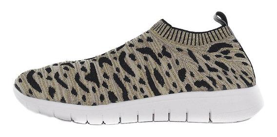 Zapatilla De Tela Elastizada Con Brillo - Leopardo - Glitter