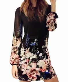 Vestido De Gasa Floreado Muy Hermoso