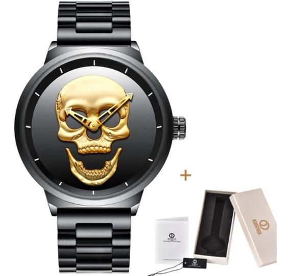 Relógio Caveira 3d, Skull Aço Inox Waterproof Com Caixa