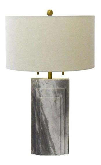 Abajur Com Base Em Metal Dourado E Mármore Branco Carrara Com Cúpula - 67x40cm