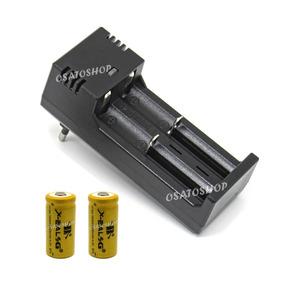 Kit Carregador Duplo + 2 Baterias 16340, Cr123a Recarregável