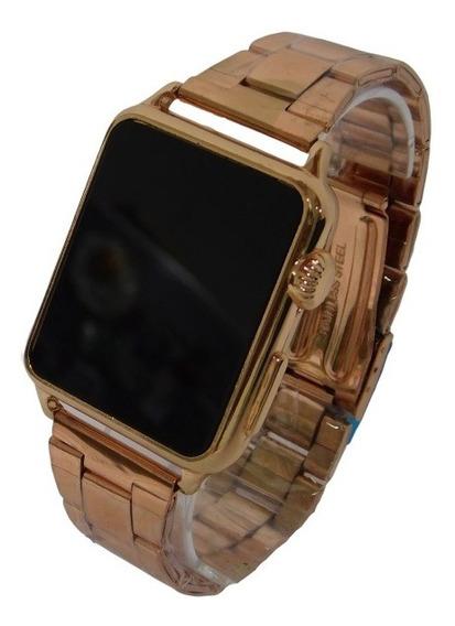 Relógio Led Digital Touch Pulseira De Aço Rosê Unissex