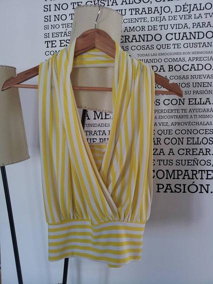 Musculosa Rayas Blanco Y Amarillo Super Sexy Talle 1 2