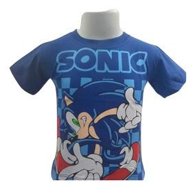 Camiseta Camisa Infantil Sonic Manga Curta Algodão