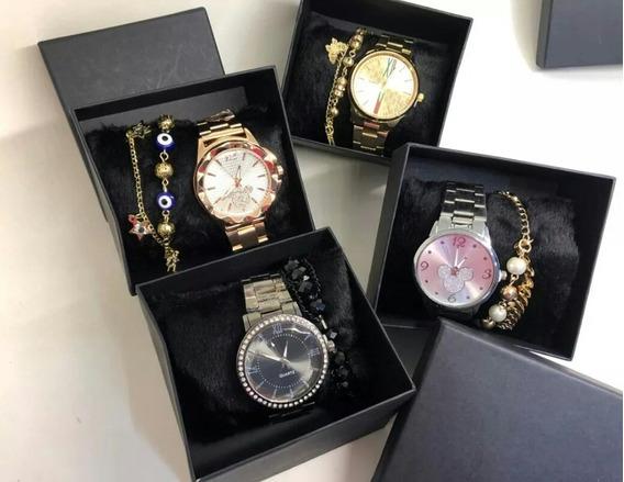 Kit Com 10 Relógios Feminino+caixas Preta+pulseiras Atacado
