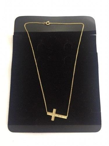 Colar Fem. Dourado Crucifixo Com Strass Correntinha Bijuteri