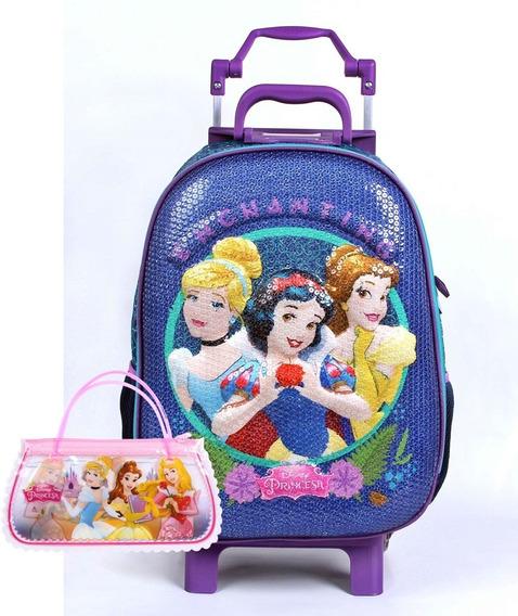 Mochila Carrinho Princesas Disney Grande 3d Infantil 52132