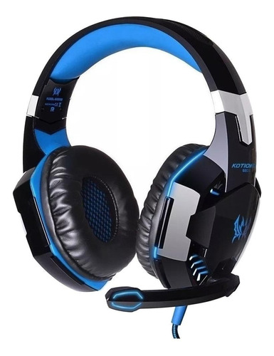 Imagen 1 de 3 de Audífonos gamer Kotion G2000 negro y azul con luz LED