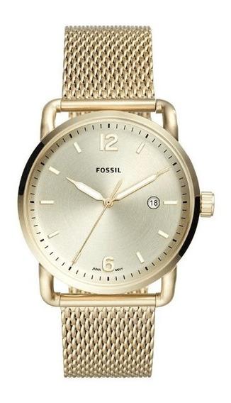 Relógio Fóssil The Commuter 3h Date Dourado - Fs5420/1dn