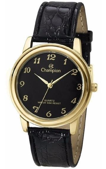 Relógio Champion Feminino Pulseira Couro Dourada Ch22153p