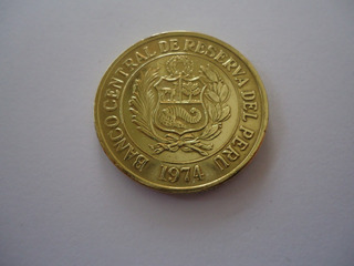 Moeda Bronze 1 Sol Oro Ouro 1974 República Peru