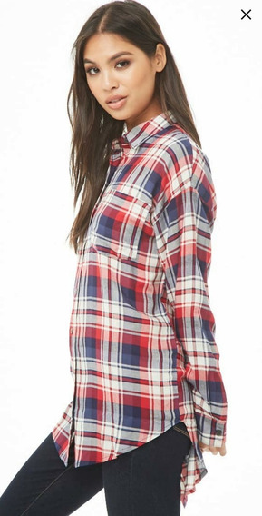 Tsuki Moda Japonesa Blusa Camisa Larga Cuadros Tartan Casual