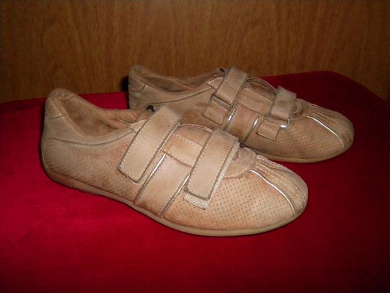 Zapatillas Cuero Beige Nª35, Abrojos, Imperdible Que Regalo