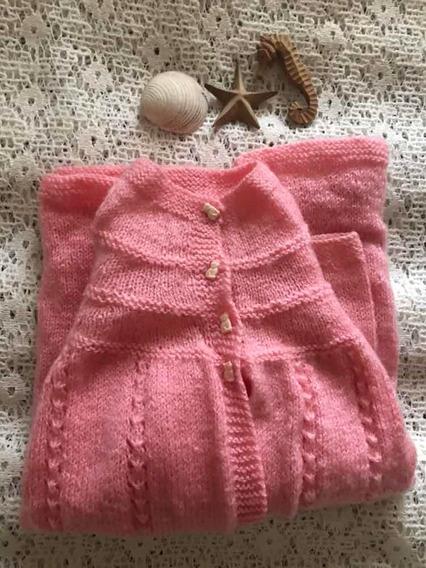 Sweater Tipo Capa Infantil - Color Rosa - Lana - Tej. A Mano