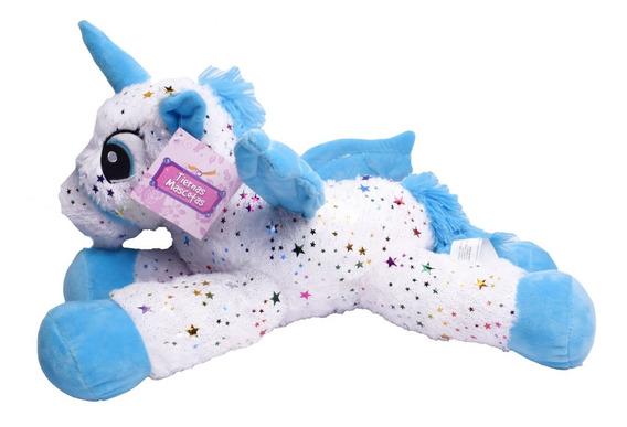 Peluche Unicornio Blanco Con Brillos 45cm El Duende Azul