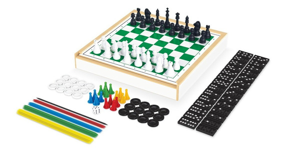 Jogo Tabuleiro 6 Em 1 Xadrez Damas Dominó Vareta Trilha Ludo