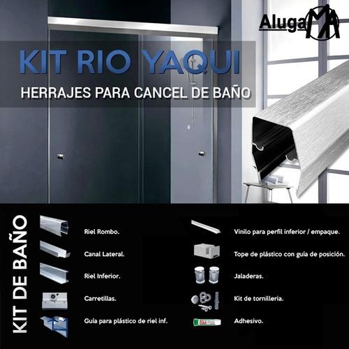 Imagen 1 de 8 de Kit De Herraje Y Aluminio Para Cancel De Baño Rioyaqui 1.80m