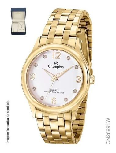 Relógio Champion Dourado Feminino + Colar E Brincos (kit)