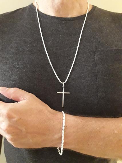Corrente Crucifixo E Pulseira Cordão Baiano Prata 925+brinde