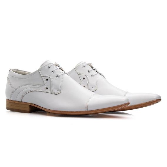 Sapato Social Branco Masculino Médico Couro Legítimo C376