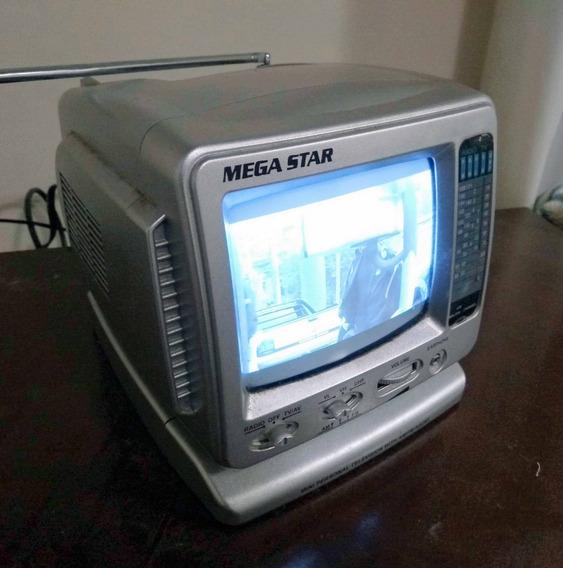 Mini Tv Portátil E Rádio Am/fm 12v - Mega Star - Antiga