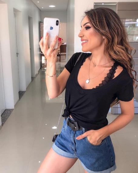 Kit Com 3 T Shirts Feminina Decote V Profundo