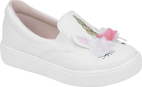 Tenis Infantil Feminino Slip On Unicornio | Branco, Preto |