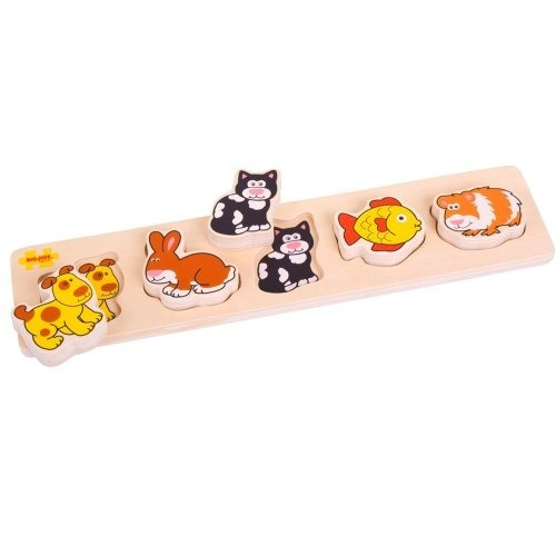 Bigjigs Toys Bb016 Chunky Lift And Match Mascotas Puzzle