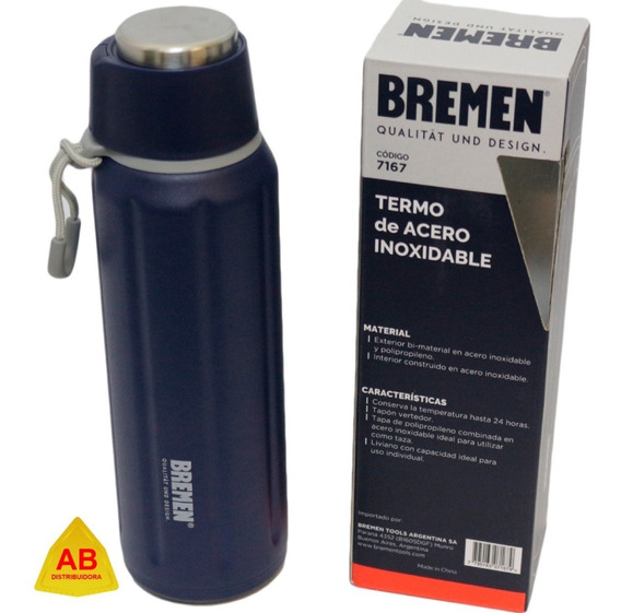 Termo Bala Acero Inoxidable Temp Por 24hs 600 Ml Bremen Ab