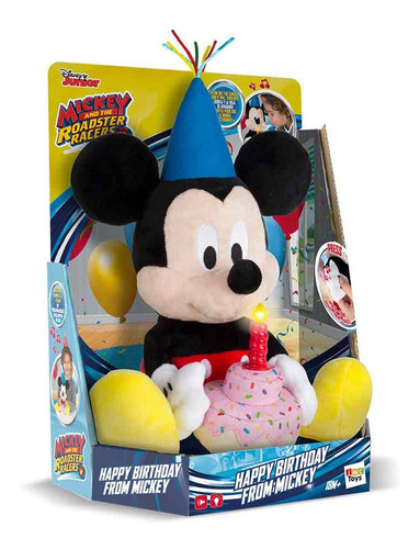 Boneco Pelucia Happy Birthday Mickey Com Som - Multikids
